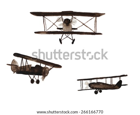 retro air planes, hand-painted in watercolor - stock photo