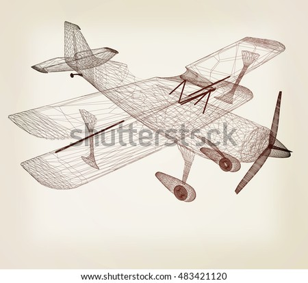 retro airplane isolated on white background . 3D illustration. Vintage style.