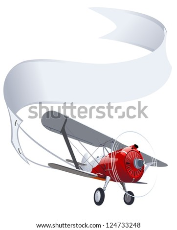 retro airplane with banner. Vector version see in my portfolio - stock photo