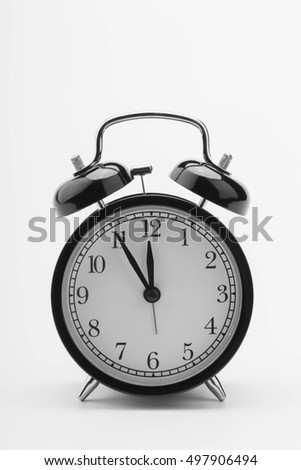 retro alarm clock, black on white background. Black - white.