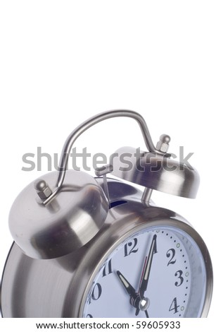 Retro Alarm Clock Close Up Isolated on White with a Clipping Path.