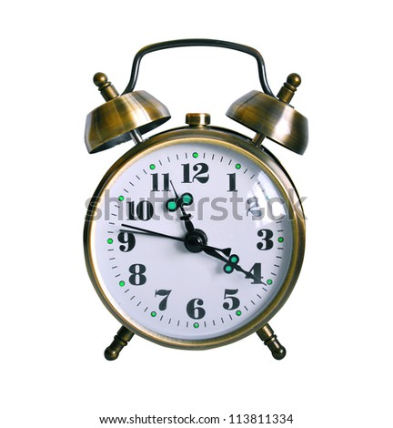 Retro Alarm clock isolated against white background - stock photo