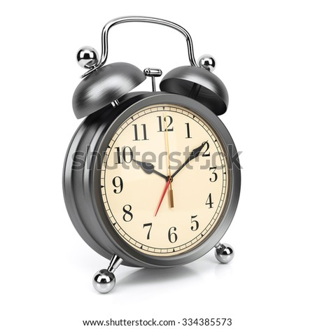 Retro alarm clock isolated on white background 3d