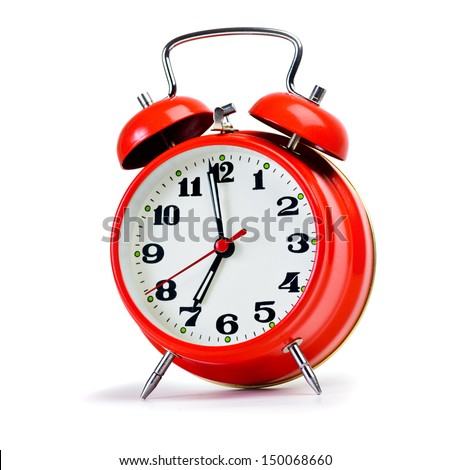 Retro alarm clock over white. Huge size photo - stock photo