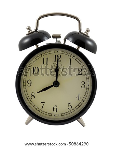 Retro alarm clock showing eight hours isolated on a white background