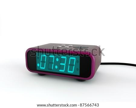 retro alarm clock violet isolated on white background - stock photo