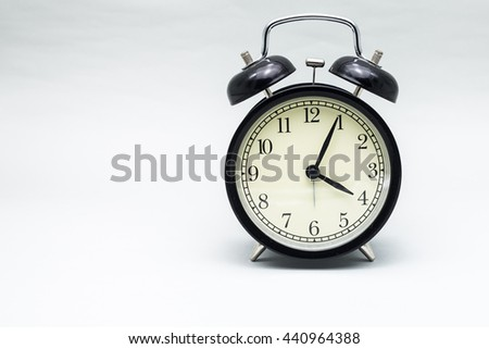 Retro alarm clock with gray colour background