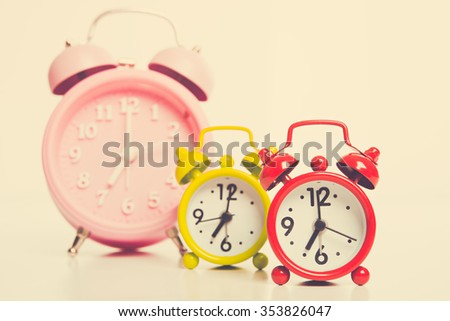 Retro alarm clocks with retro colored