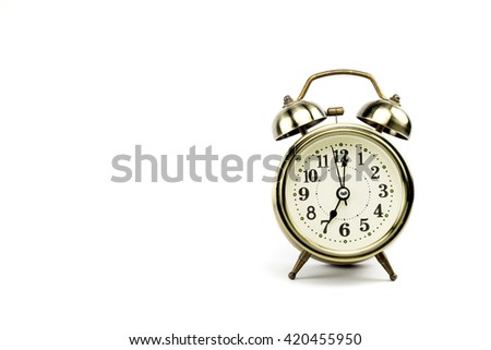 Retro alarm, Either the clock start at 7 am or 7 pm, depends on what it fits for ur concept. free space for your text here - stock photo