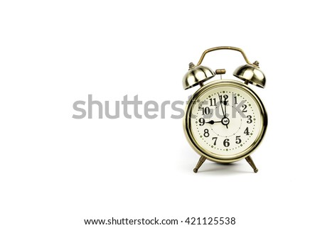 Retro alarm, Either the clock start at 9 am or 9 pm, depends on what it fits for ur concept. free space for your text here - stock photo