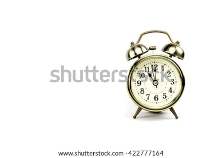 Retro alarm, Either the clock start at 11 am or 11 pm, depends on what it fits for ur concept. free space for your text here - stock photo