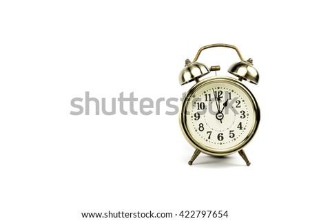 Retro alarm, Either the clock start at 1 am or 1 pm, depends on what it fits for ur concept. free space for your text here - stock photo