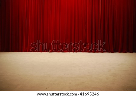 retro and elegant red theater stage curtains - stock photo