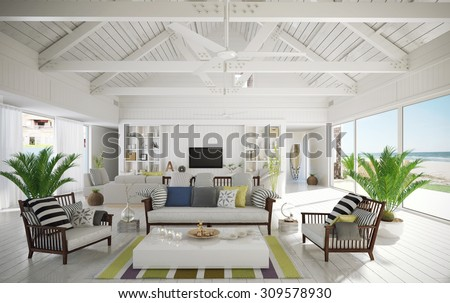 Retro and modern house on the beach (3 D render using 3 d s Max) - stock photo