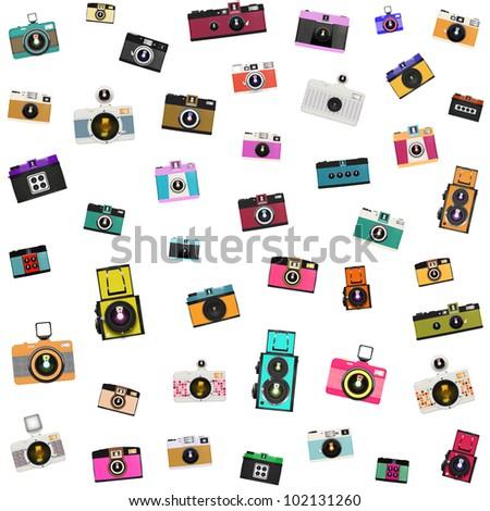 retro and vintage camera pattern - stock photo