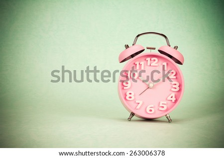 retro and vintage style of Old fashioned the alarm clock - stock photo