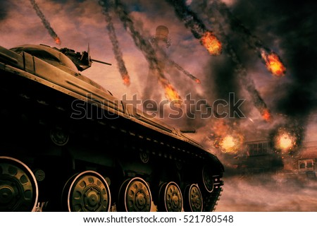 Retro army tank in the field of battle, military background. Photomanipulation