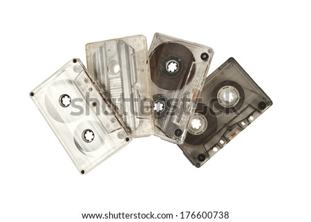retro audio tapes isolated on white background
