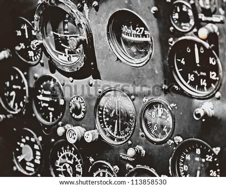 Retro aviation, aircraft instruments, cockpit detail - stock photo