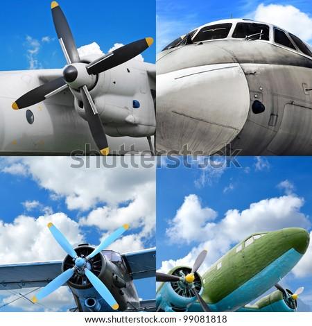 Retro aviation, old military aircraft set - stock photo