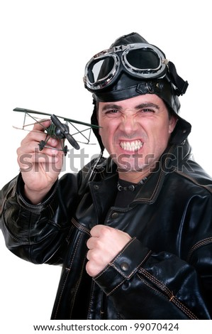 retro aviator on white background - stock photo