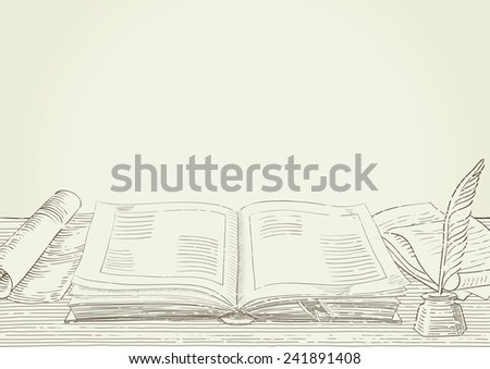 Retro background. Background with old  book and antique objects at engraving style.