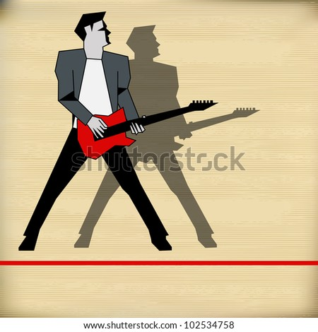 Retro Background illustration for a rock music performance - stock photo