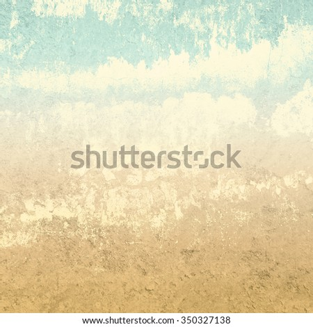 Retro background in earth colors with abstract clouds - stock photo