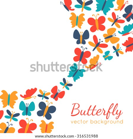 Retro background of colorful butterfly silhouettes.Spring wallpaper can be used for printing onto web page background and invitation. White, blue, red and yellow colors. - stock photo