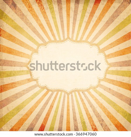 Retro background of multicolor rising sun or sun ray, sun beam  with vintage frame design - old canvas texture - stock photo