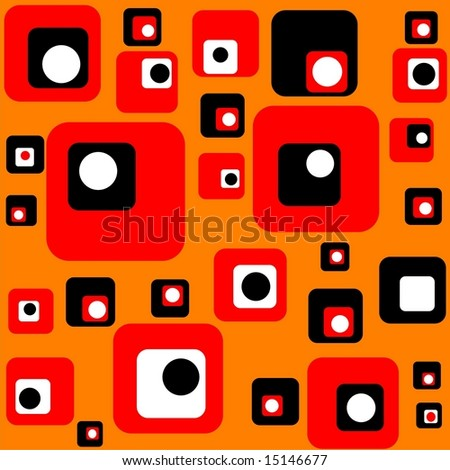 Retro background pattern with squares and circles in white red and black on orange