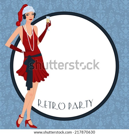 Retro background with flapper girl,  retro Christmas or New Year party invitation design in 20's style - stock photo