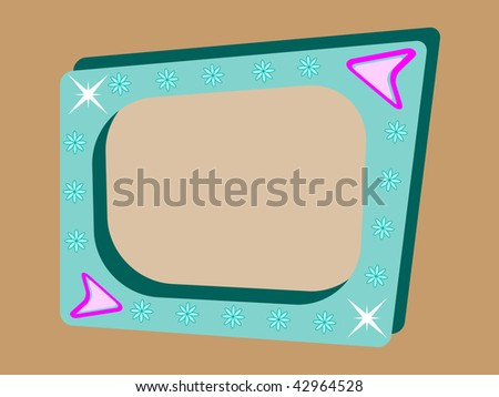 retro background with teal blue tv screen on brown background - stock photo