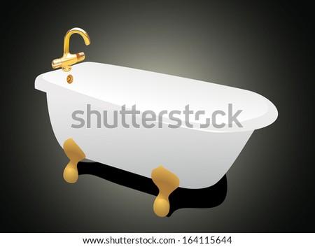 retro bathtub - stock photo