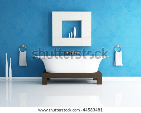 retro bathtub in a modern bathroom - stock photo