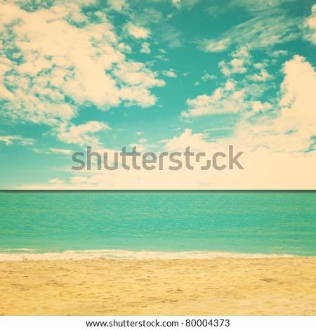 Retro beach - stock photo