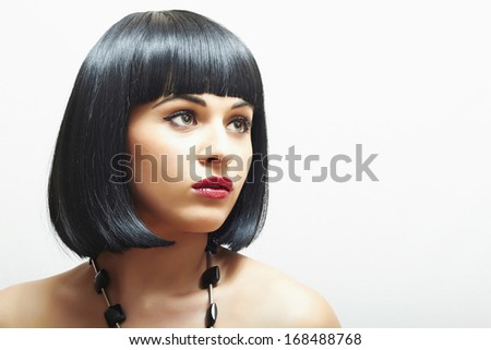 Retro Beautiful Brunette Girl.bob Haircut.red lips.beauty woman - stock photo
