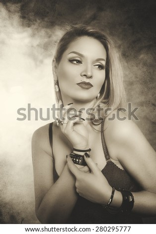 Retro beautiful woman portrait in vintage sepia style