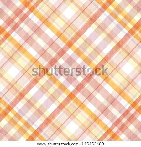 Retro beige, pink, white and orange plaid pattern - stock photo