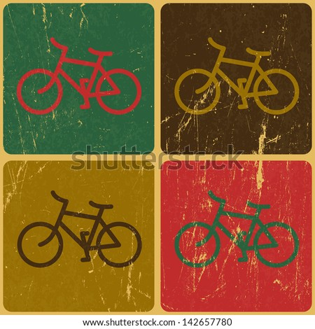 Retro bicycle background. Raster version, vector file available in portfolio. - stock photo