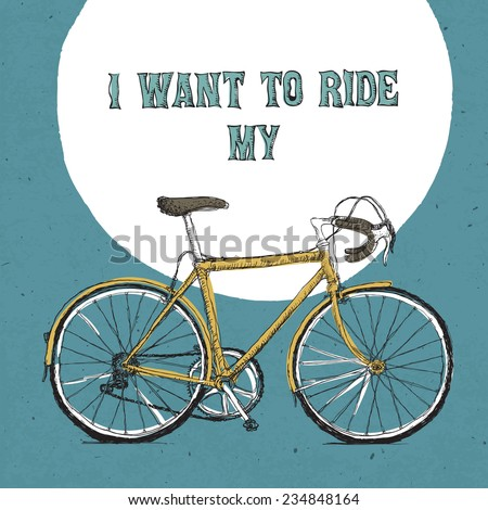 Retro bicycle illustration, hand drawn. Raster version - stock photo