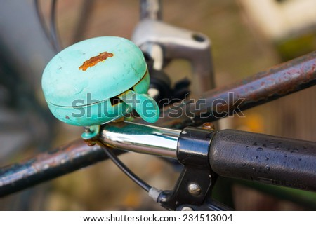 Retro bicycle ring on old Dutch bike - stock photo