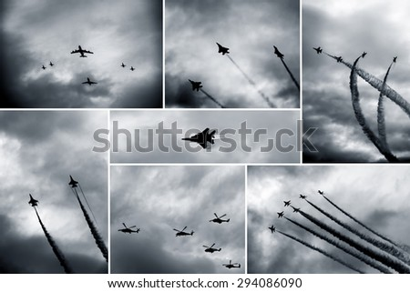 Retro black and white collage of aircraft shows - stock photo