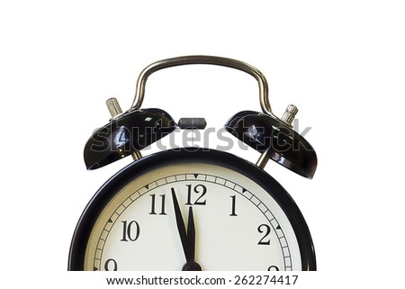 Retro ,black classical alarm clock.