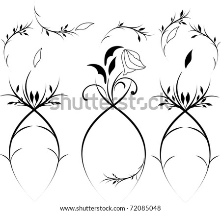 Retro black flower set isolated on white background (raster version). Vector version is also available. - stock photo