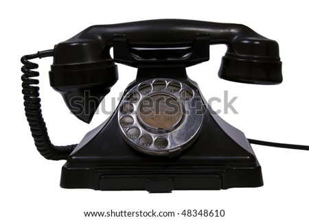 Retro Black telephone against a white background