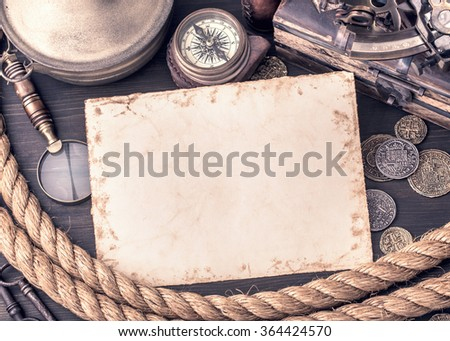 Retro blank paper card and old nautical accessories. Toned - stock photo