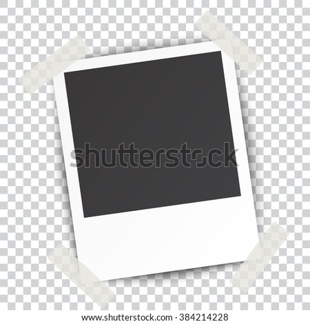 Retro blank photography with a black place for your image in a photo album page. photo frame with shadow Sticked on Duct Tape on a transparent background for your object. illustration Raster version - stock photo