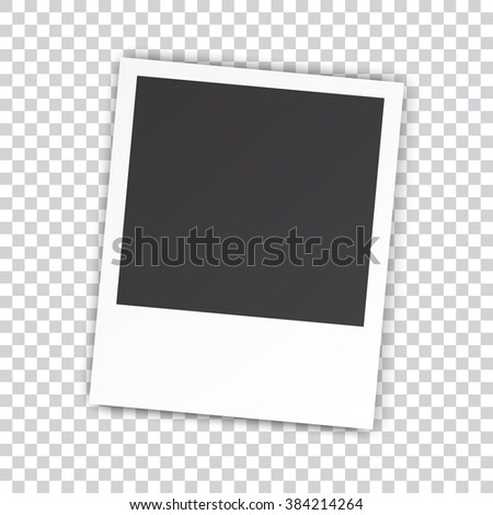 Retro blank photography with a black place for your image in a photo album page. photo frame with shadow on a transparent background for your object. illustration Raster version - stock photo
