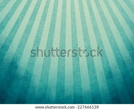 retro blue background layout design with striped pattern angled from top corner like sun beams or rays shining down from heaven or sky. starburst design, light blue and beige abstract background - stock photo